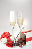 Champagne  and chocolate Royalty Free Stock Images