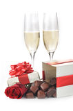 Champagne  and chocolate Royalty Free Stock Image