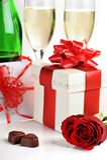 Champagne  and chocolate Stock Photo