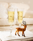 Champagne At Christmas Royaltyfria Bilder