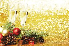 Champagne and christmas decor Royalty Free Stock Photo