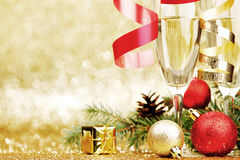 Champagne and christmas decor Stock Photo
