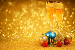 Champagne and christmas decor royalty free stock image