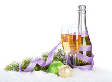 Champagne and christmas decor Stock Photography