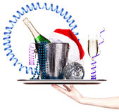 Champagne and christmas decor Stock Image