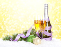 Champagne and christmas decor Stock Photos