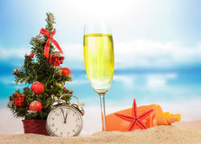 Champagne with Christmas decoration Royalty Free Stock Photography