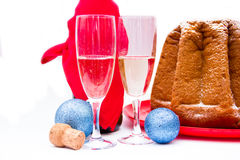 Champagne and Christmas decorations royalty free stock photos