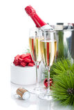 Champagne and christmas gift Royalty Free Stock Image