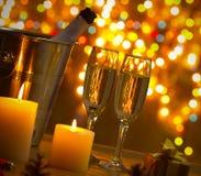 Champagne and Christmas Lights Stock Photos