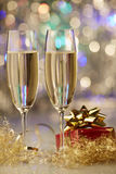 Champagne christmas new year gift Royalty Free Stock Images