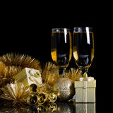 Champagne with Christmas ornaments Royalty Free Stock Images