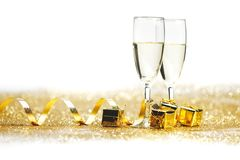 Champagne with christmas present Royalty Free Stock Photography