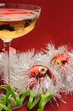Champagne and Christmas seting Stock Images
