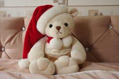 Champagne Christmas Teddy Imagens de Stock