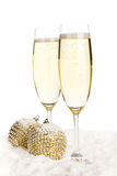 Champagne and Christmas toys Royalty Free Stock Photos