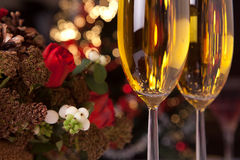Champagne and christmas tree 2 Stock Images
