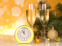 Champagne and clock Stock Photos