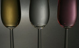 Champagne close up. Close up of three kinds of champagne Royalty Free Stock Images