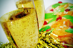Champagne and coca de Sant Joan, typical sweet flat cake from Ca Stock Photography