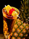 Champagne  cocktail with cherry and pineapple 69 Royalty Free Stock Photos