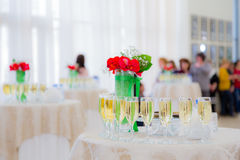 Champagne at the cocktail party. People in the background. Blurred background Royalty Free Stock Image