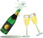 Champagne com bocals Foto de Stock Royalty Free