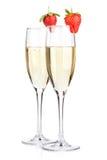 Champagne com morango Imagem de Stock