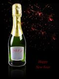 Champagne con i fuochi d'artificio nei precedenti Immagini Stock