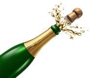 Champagne con spruzzata Fotografie Stock Libere da Diritti