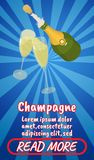 Champagne concept banner, comics isometric style. Champagne concept banner. Isometric banner of champagne comics vector concept for web, giftcard and postcard vector illustration