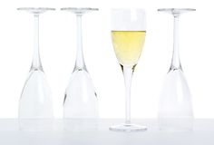 Champagne, concept image, one glass filled Royalty Free Stock Photography