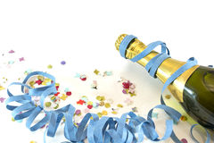Champagne and confetti Stock Photos