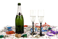 Champagne and confetti. Colorful confetti with champagne isolated on a white background Stock Photo