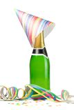 Champagne with confetti. Champagne with streamers and confetti on white background Stock Images