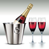 Champagne in cooler Royalty Free Stock Images