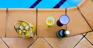 Champagne Coolers door de Pool - kleurrijk plastic wijnglazen en beeld met fruit en fles van bruisend stock fotografie