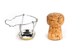 Champagne cork. Two parts of champagne cork on white Stock Images
