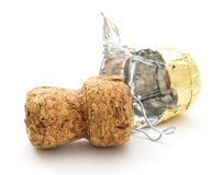 Champagne cork. On white background Royalty Free Stock Images