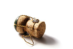 Champagne cork. With golden wire and green top royalty free stock photography