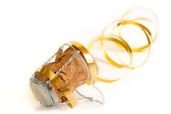 Champagne cork. With ribbon on a white background Royalty Free Stock Images