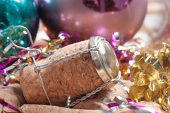 Champagne cork. Of Christmas decorations Stock Photography