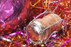 Champagne cork. Of Christmas decorations close up Royalty Free Stock Photo