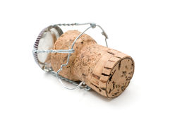 Champagne cork. On a white background Royalty Free Stock Photo