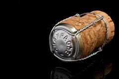 Champagne Cork on Black Stock Images