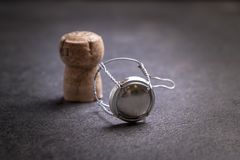 Champagne cork on dark background royalty free stock photos