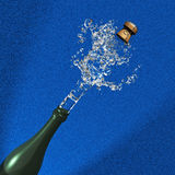 Champagne cork ejection on blue Stock Photography