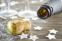 Champagne cork. And an empty bottle Royalty Free Stock Image