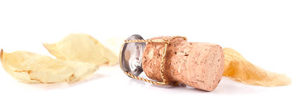 The champagne cork and faded rose petals Royalty Free Stock Photo
