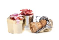 Champagne cork and gift Stock Images